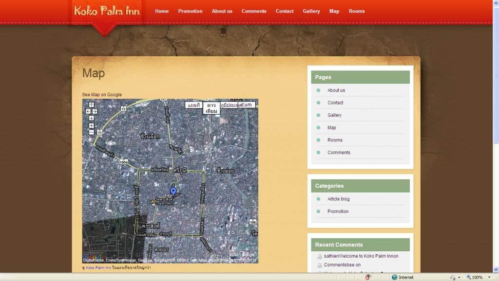 ตัวอย่างการนำเอาโค๊ดมาวางบนเว็บไซด์เพื่อแสดงตำแหน่งบนแผนที่