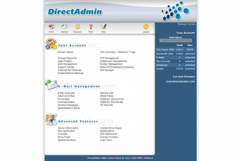 หน้าตาระบบ Direct Admin