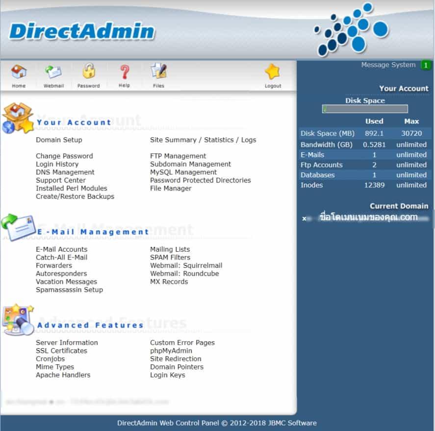หน้าตาระบบ DirectAdmin