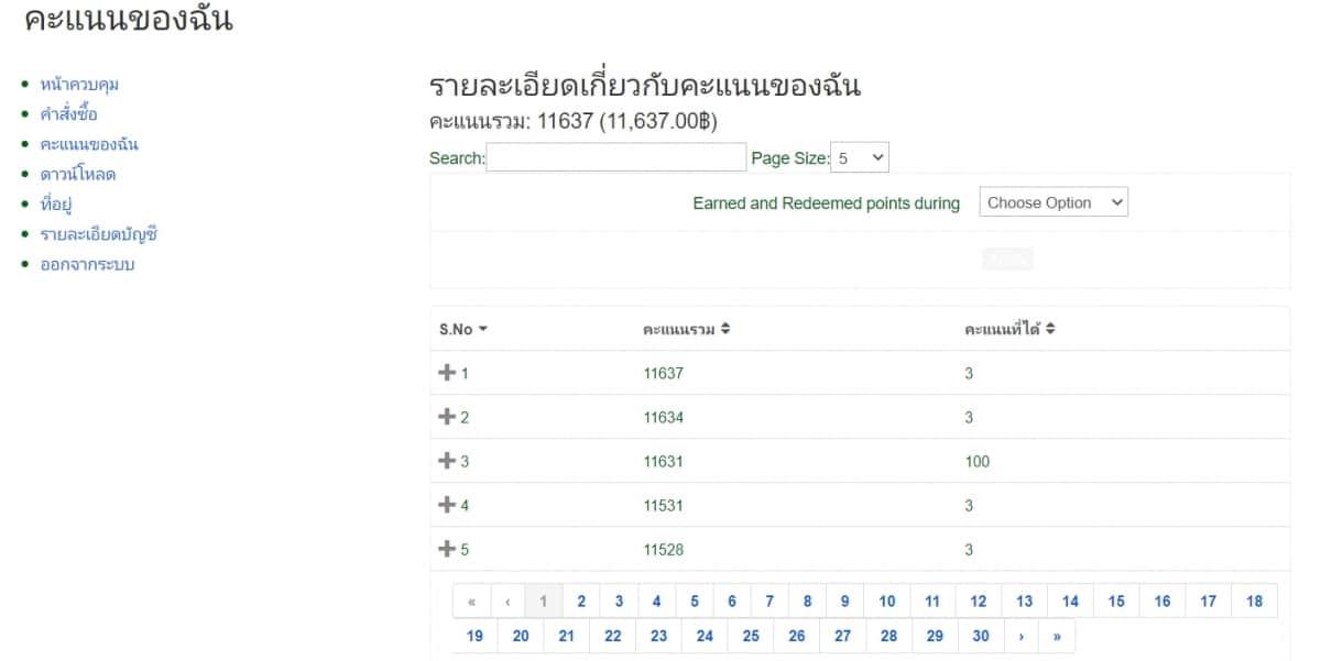 หน้ารายงานคะแนนสมาชิก ใช้งานง่ายด้วยภาษาไทย